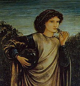 from Morgan le Fey by Edward Burne Jones except backwards and darkened